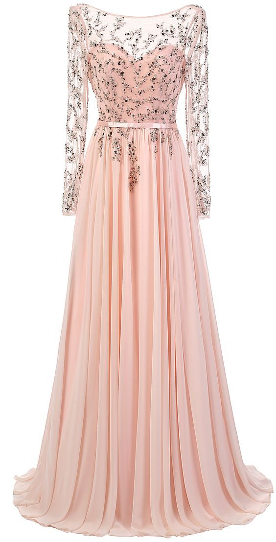 Blush Pink Long Sleeves Floor-length Chiffon Dress