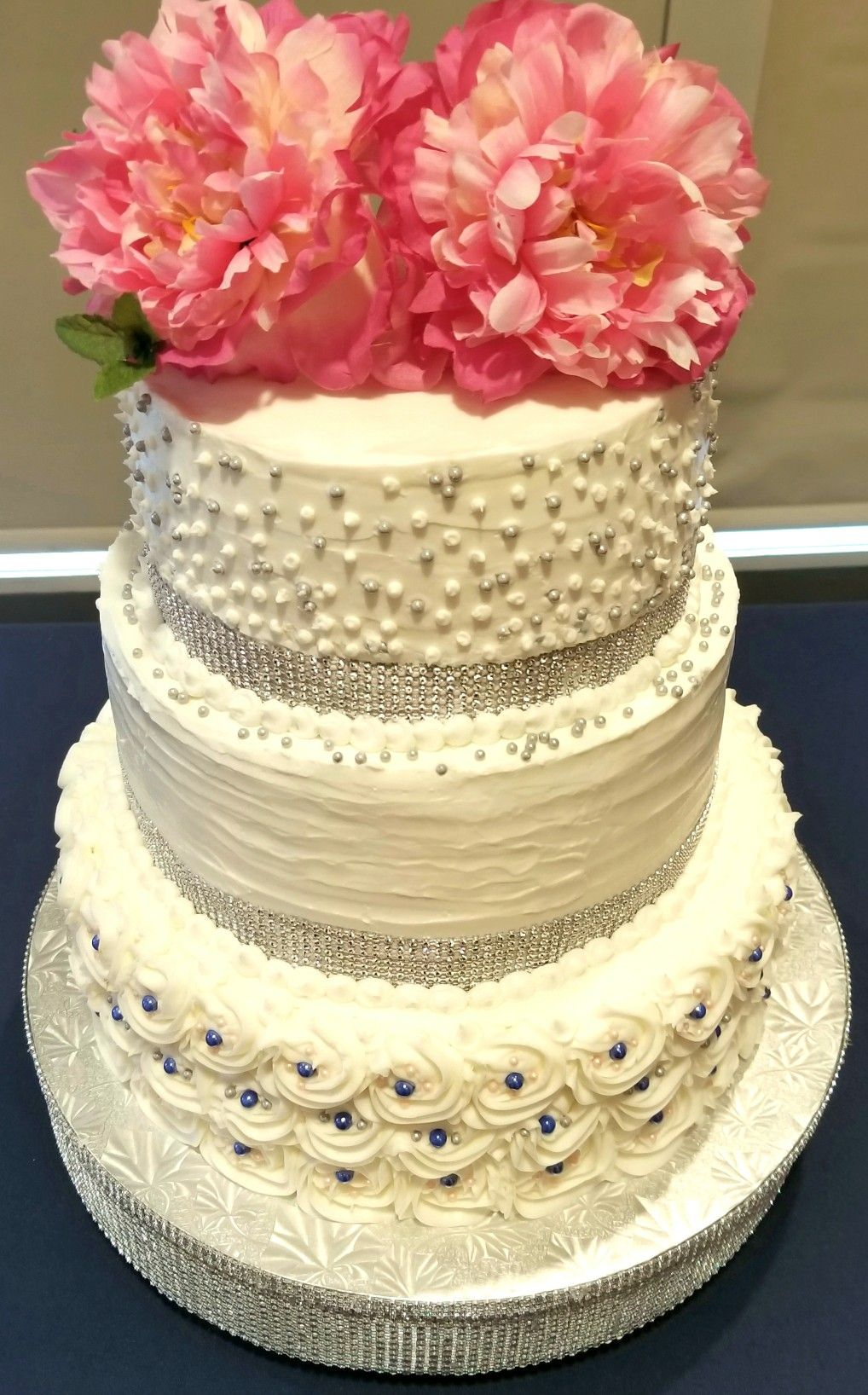 Denim blush u silver grey wedding cake our company creations