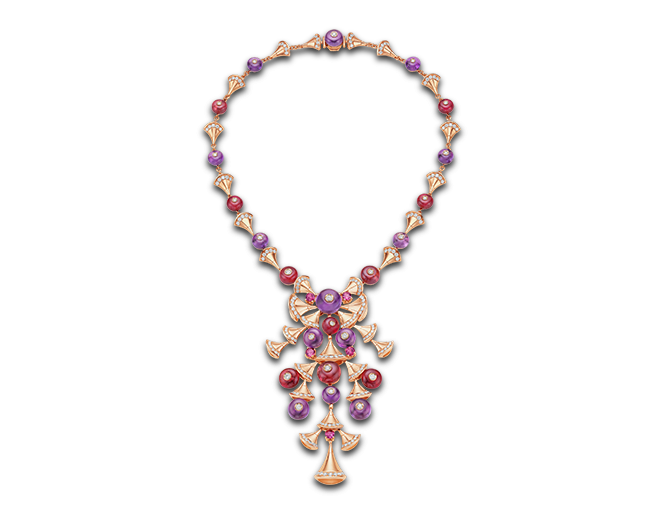Collar DIVA en oro rosa de 18 qt con gemas de color y pavé de diamantes.
