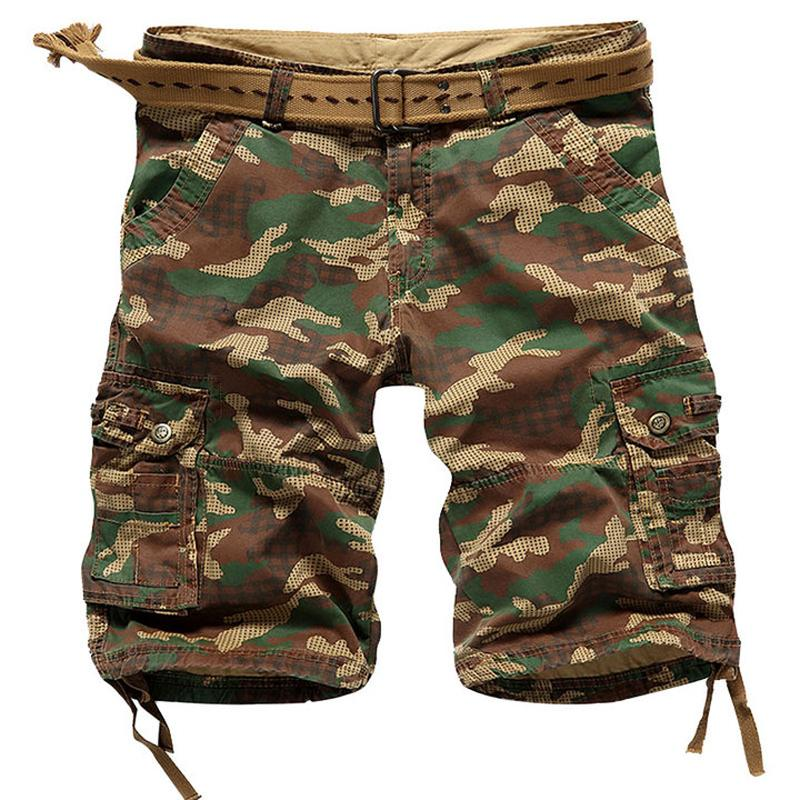 e7b4b99ced8 Summer Loose Cotton Military Shorts Multi Pockets Camouflage Cargo Shorts  Men