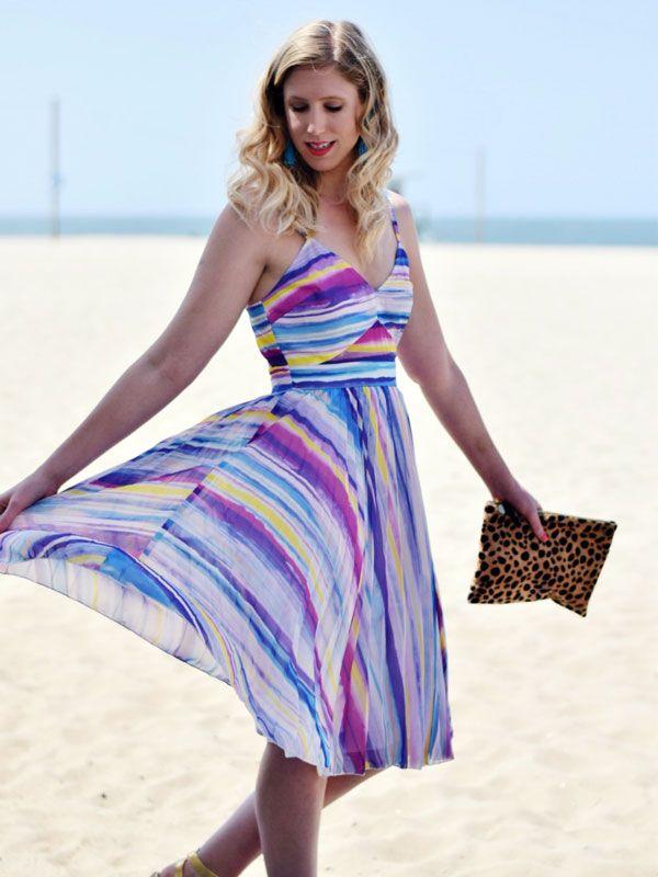 Bright Striped Perfect Beach Wedding Guest Dress | Clothes | Pinterest