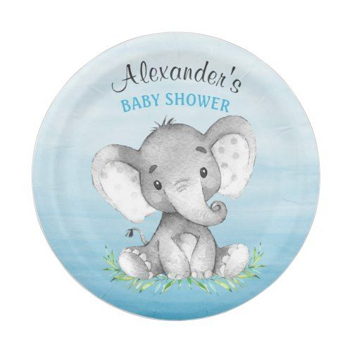 66d170435 Watercolor Elephant Boy Baby Shower Paper Plate