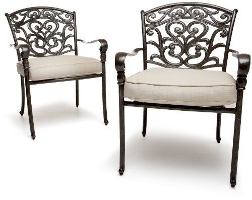 Strathwood St Thomas Cast Aluminum Dining Arm Chair Set Of 2 By