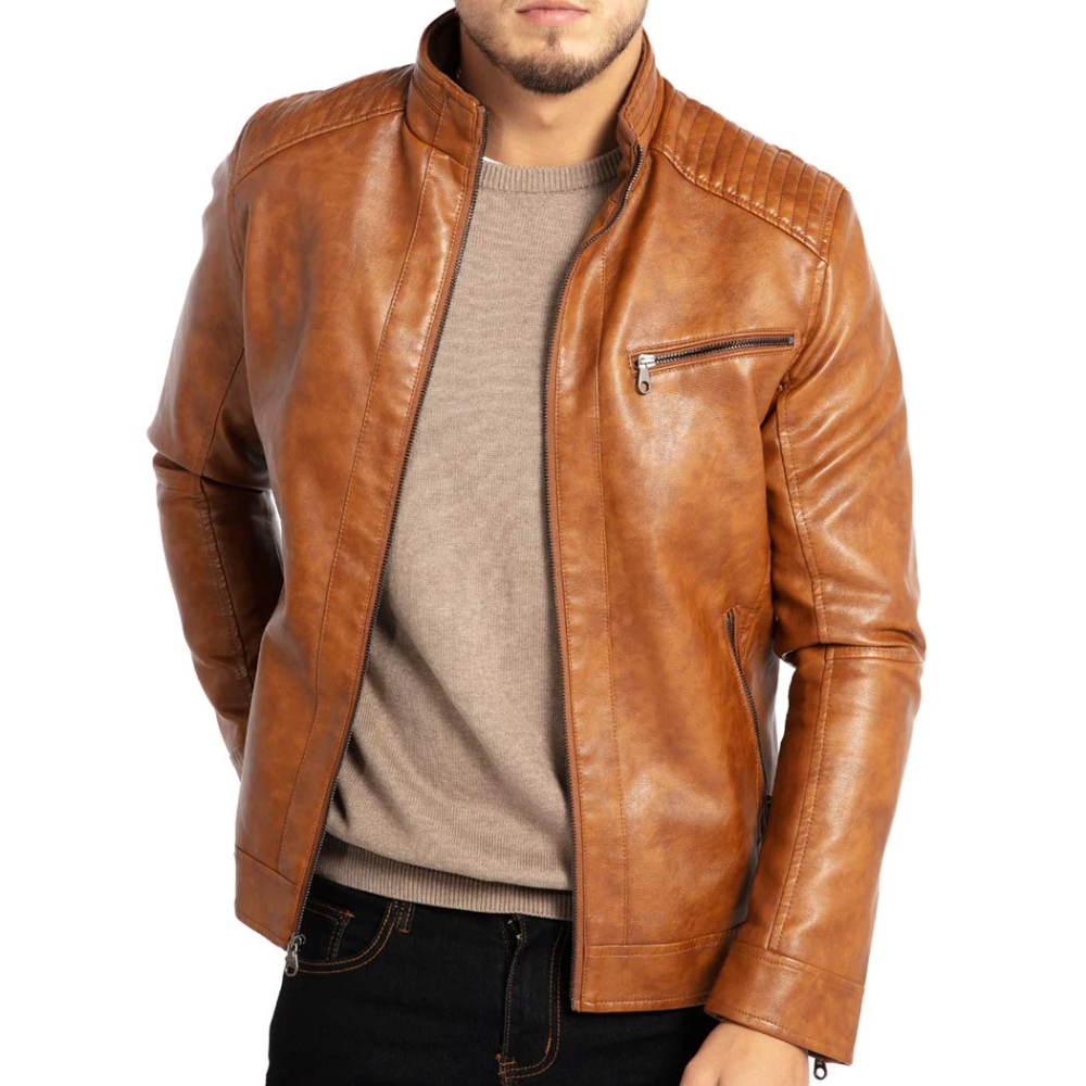 Stand Collar Leather Jacket Leather Jacket Outfit Men Leather Jacket Men Brown Leather Jacket Men [ 1000 x 1000 Pixel ]