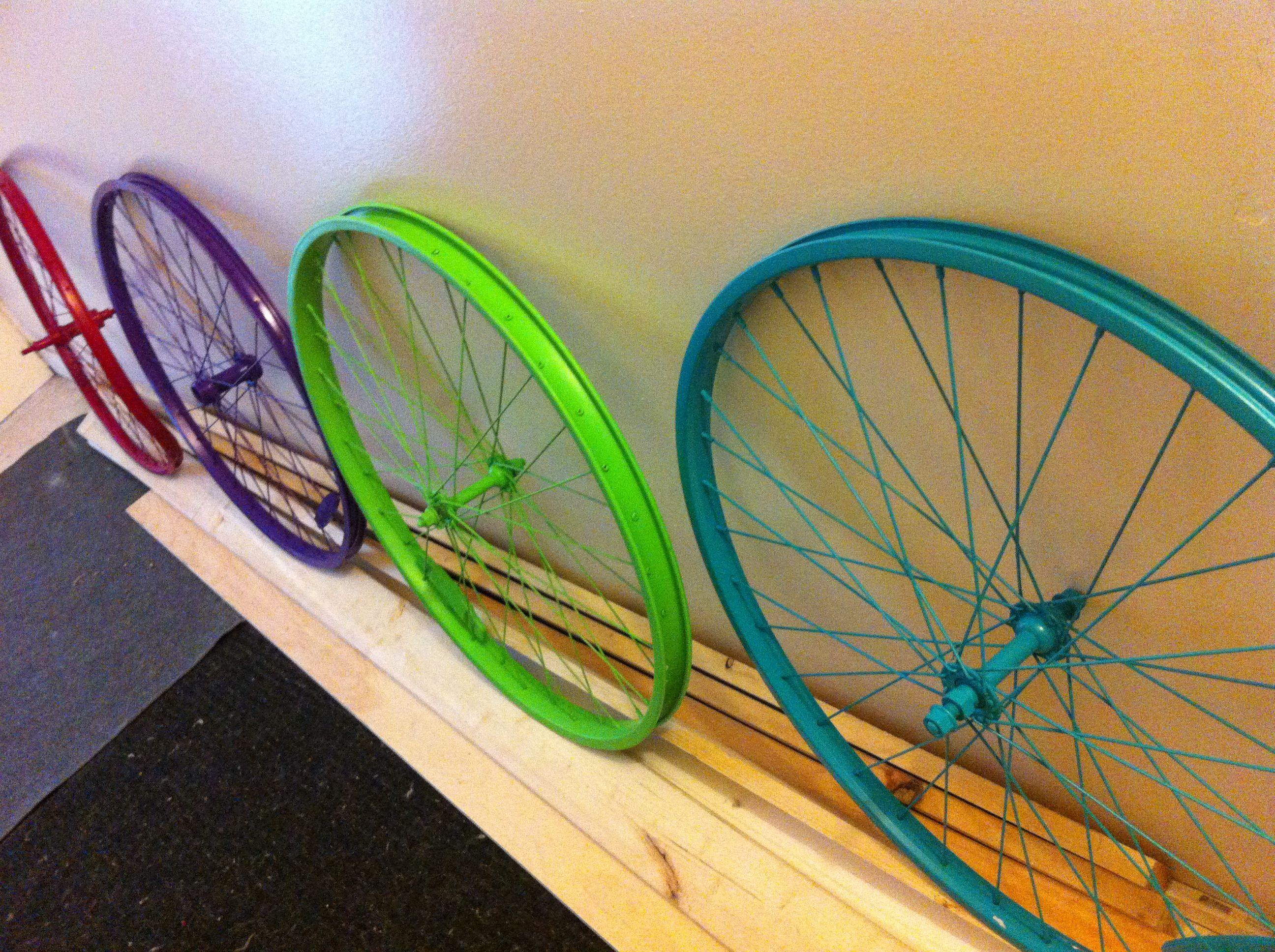 Bike spokes painted with graffiti spray paint in hot bright colours million things you can do with these guys