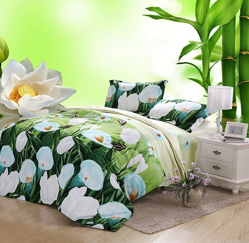 Spathiphyllum Green Bedding 3D Duvet Cover Set