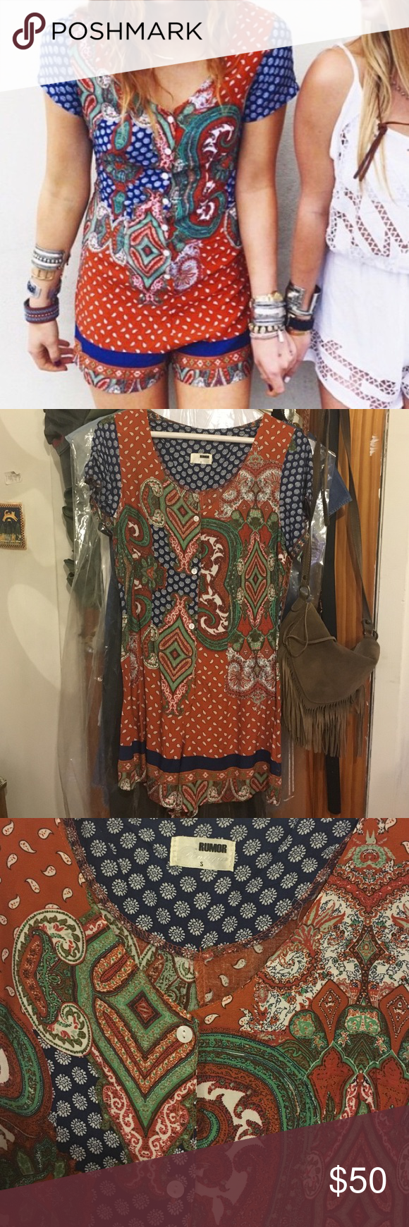 LF Paisley Romper Never worn button front paisley jumpsuit bought from LF LF Pants Jumpsuits & Rompers