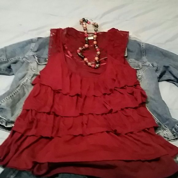 Dots cute flutter top with tank Maroon, lace sleeves and back, never worn Dots Tops Tank Tops