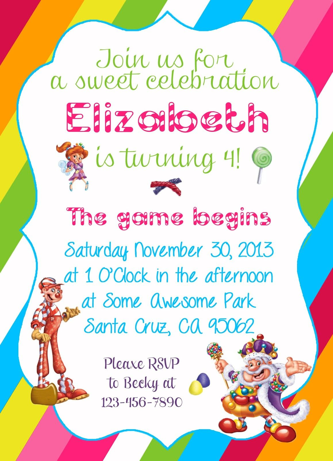 Diy design den free candyland themed party printable invitation and diy banners candyland for Diy birthday invitations free
