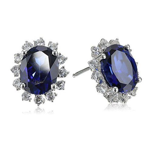 Sterling Silver Created Dark and White Sapphire Oval-Cut Stud Earrings - $53.06
