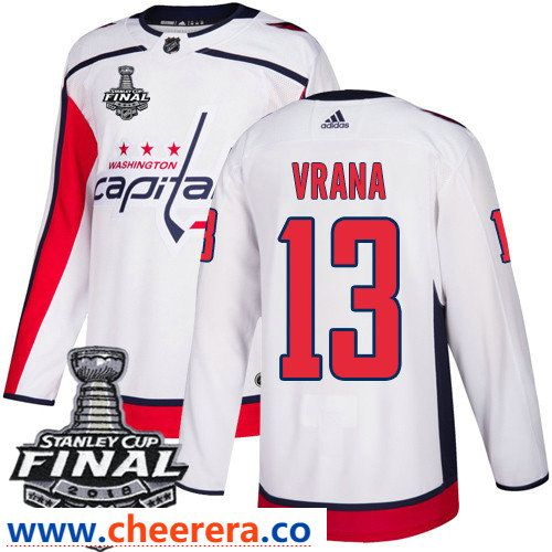43a11eae9 Washington Capitals  13 Jakub Vrana White Stitched Adidas NHL Away Men s  Jersey with 2018 Stanley Cup Final Patch