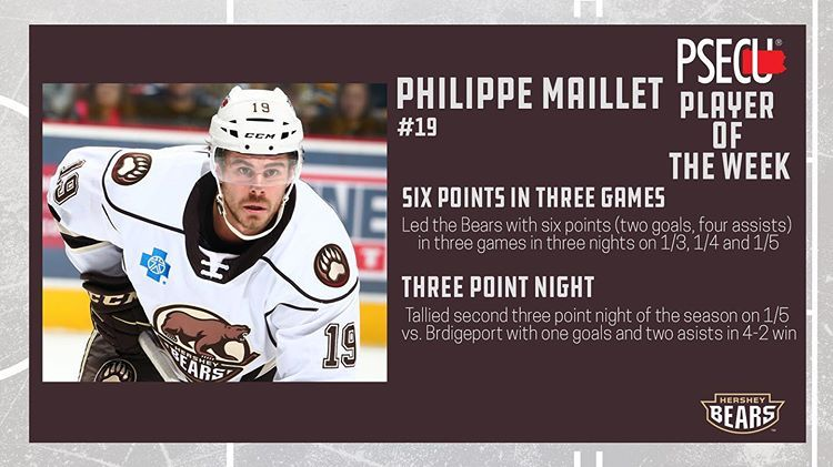 Six Points In Three Games To Help The Hershey Bears To A Weekend Sweep Congratulations To Philippe Maillet Philmaillet16 On In 2020 Hershey Bears Threes Game Bear