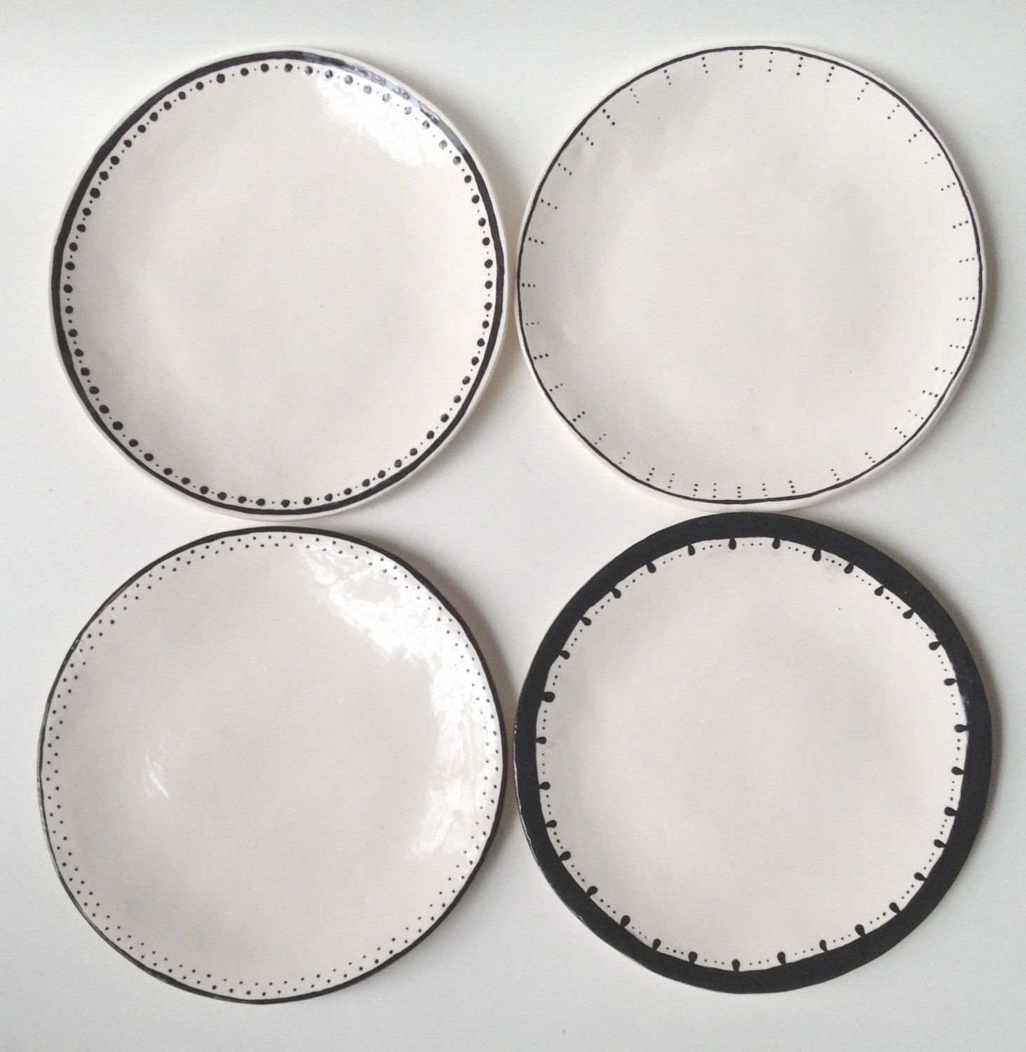 Geschirr Rustikal set of 4 dinner plates black white ceramic wabi sabi mix