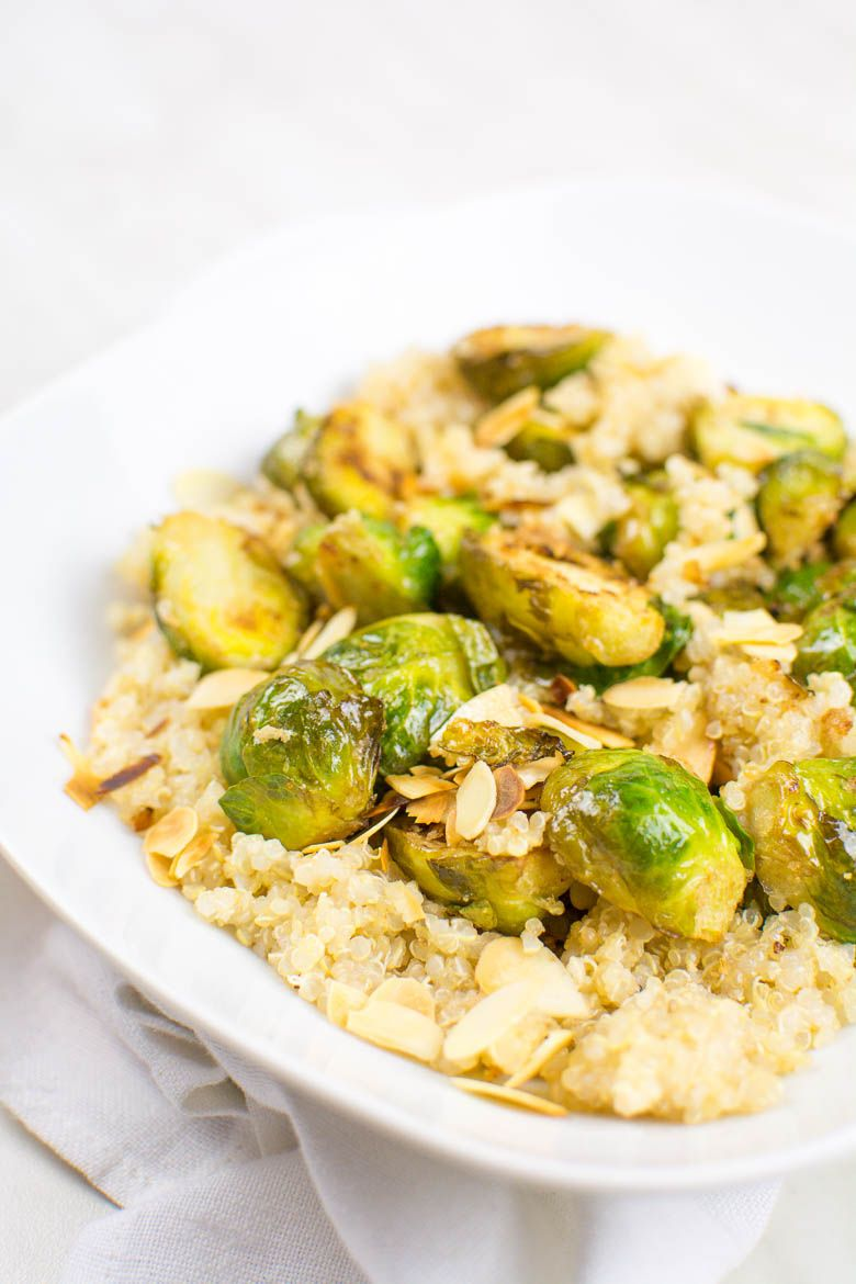 Photo of Garlic Brussels sprouts with almonds on lemon quinoa