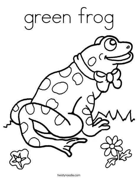 green frog Coloring Page | 2 Color * Cute | Pinterest
