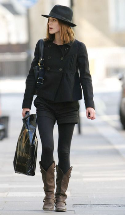 If the majority of my style were captured in a photo, it might be this one.. pea coat.. tights and cowboy boots.. yes please