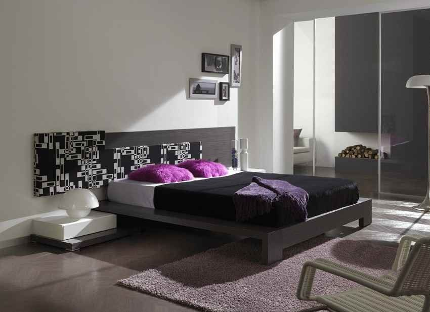 Modern Modular Bedroom Furntiure With Purple Pillow Color In Grey And White Interior Room Decoration Ideas For Inspiration Bedroom Pinterest Purple