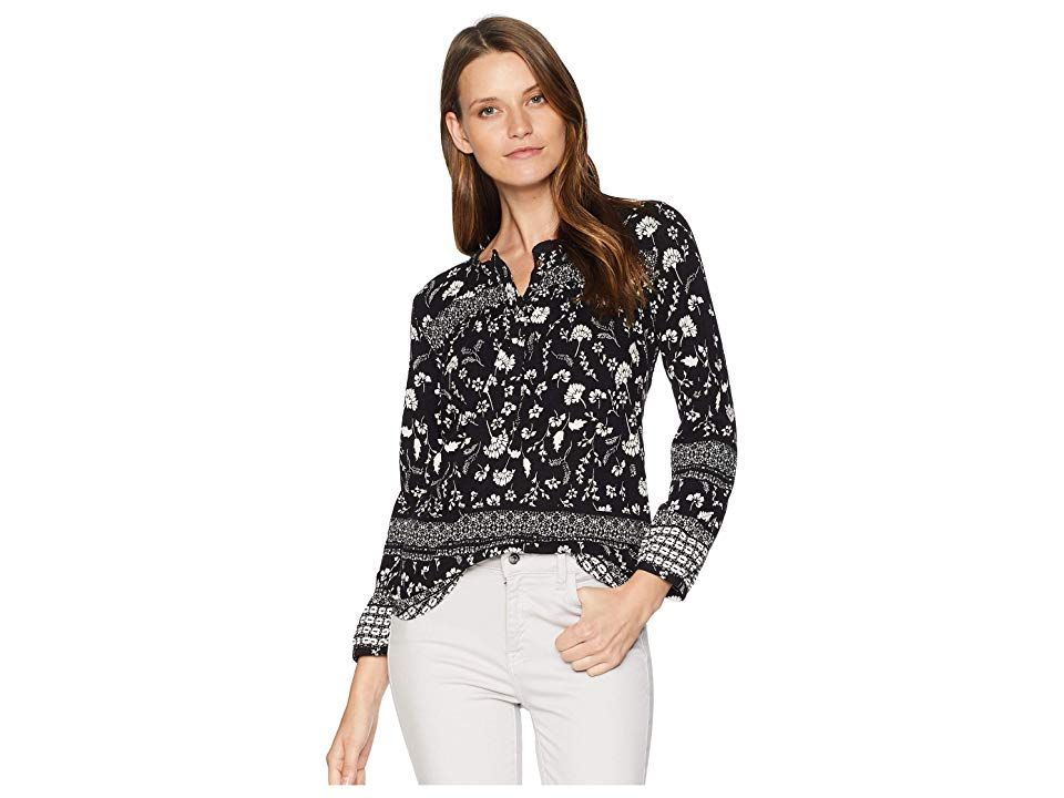 eefdfc8540799f Lucky Brand Embroidered Peasant Top (Black Multi (Border Print)) Women's  Blouse. Fabricated from a soft cotton woven. Top features decorative  embroidery at ...