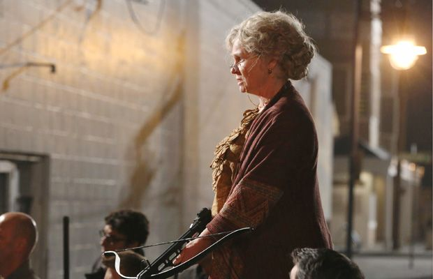 "Beverley Elliott as ""Granny"" on Once Upon a Time.  This granny can wield a blowtorch, build a Big Bad Wolf cage, protect her granddaughter, and keep angry mobs at bay with a crossbow."
