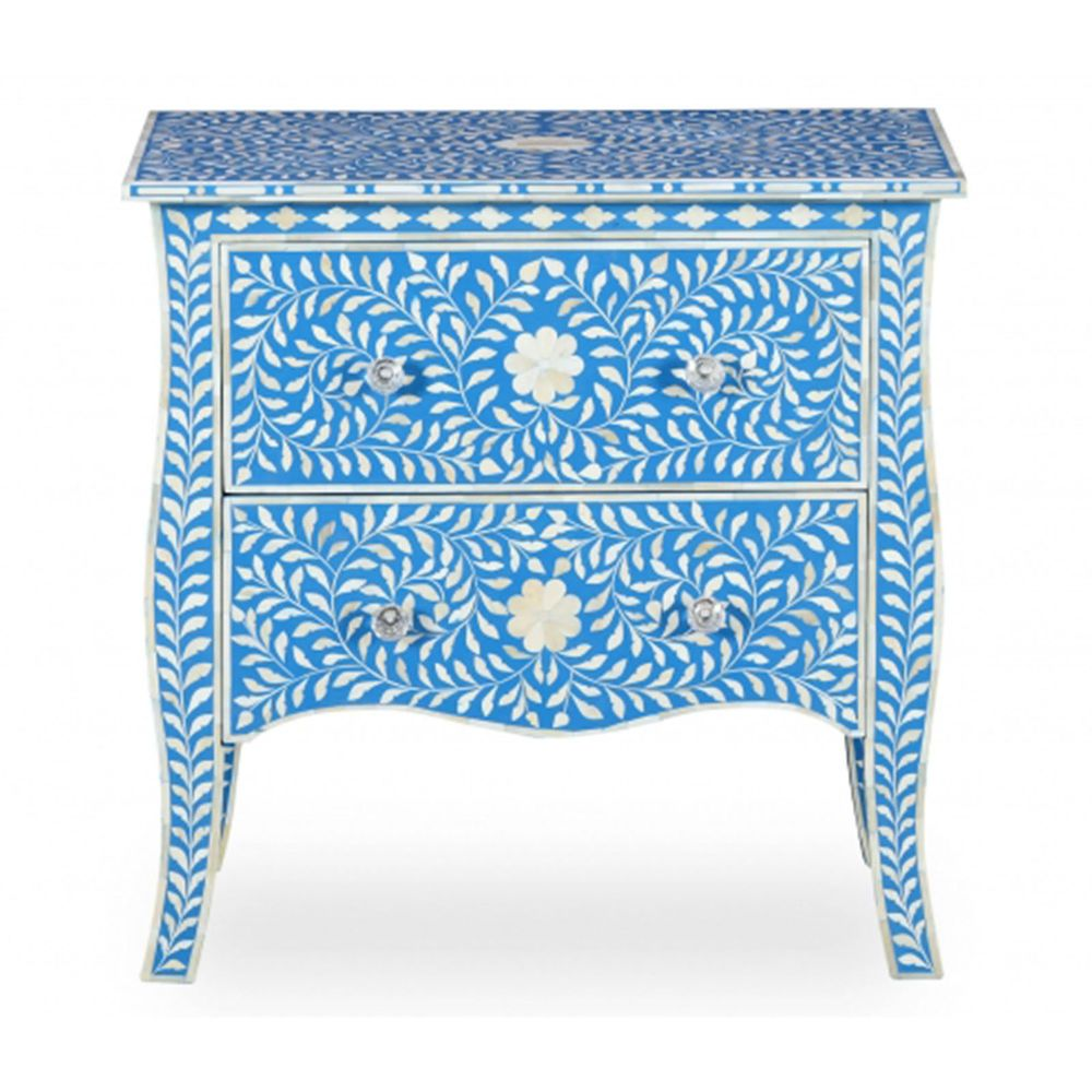 Bone Inlay Carved Chest of 2 Drawers Tallboy Sideboard Blue Camel
