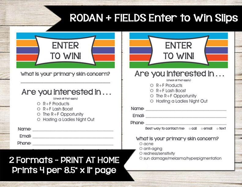Rodan  Fields  Enter To Win  Door Prize  Drawing Slip  Raffle