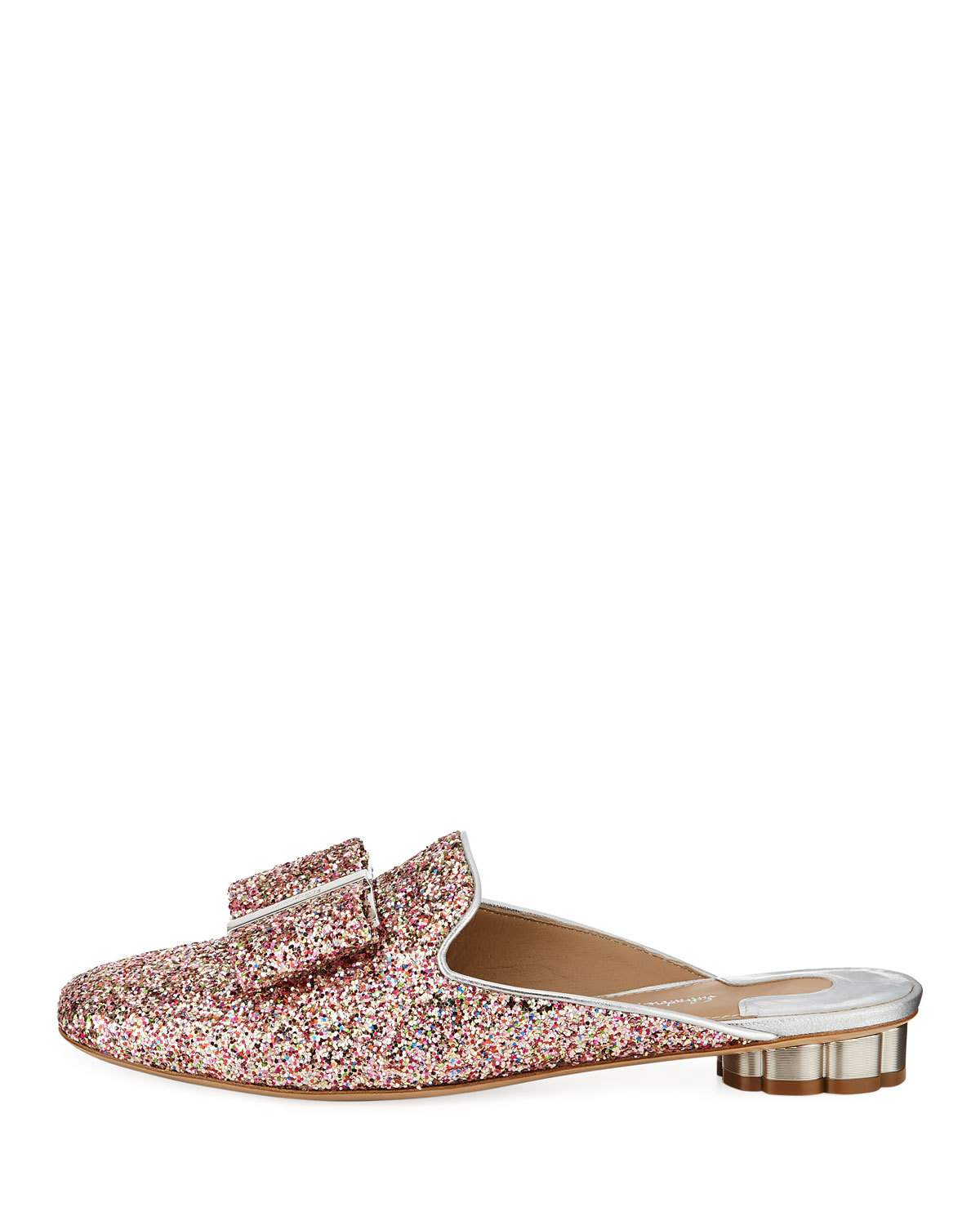 5a7741b8b580c8 Salvatore Ferragamo Tess Glitter Bow Slide Mule Flat with Flower Heel Bow  Slides