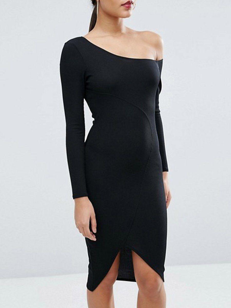 Adorewe justfashionnow black dresses designer haoduoyi black slit