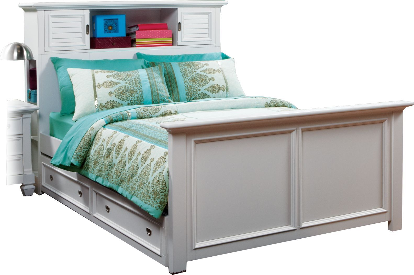 Kids Belmar White 4 Pc Full Bookcase Bed W Trundle Bookcase Bed