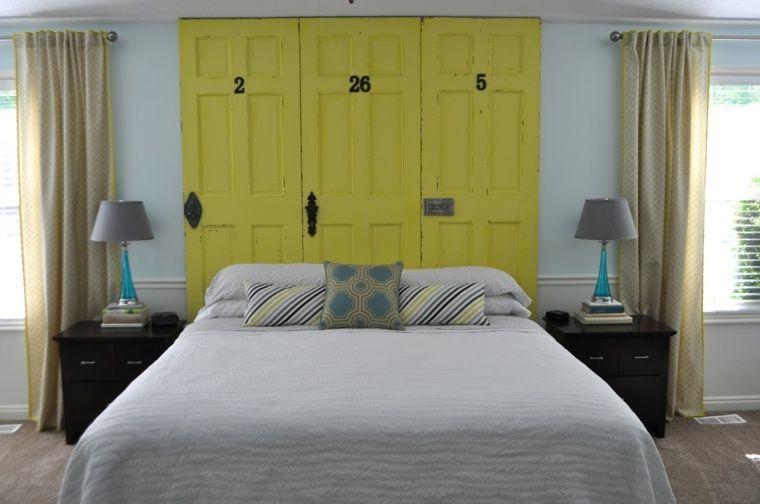 fabriquer une tete de lit en bois porte jaune idées chambre