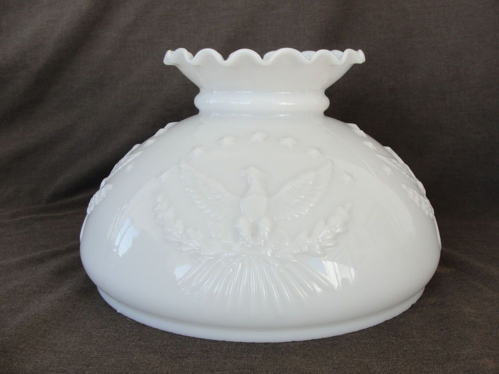 Vintage 10 Milk Glass Lamp Shade W Embossed Eagle Glass Lamp Shade Milk Glass Lamp Milk Glass