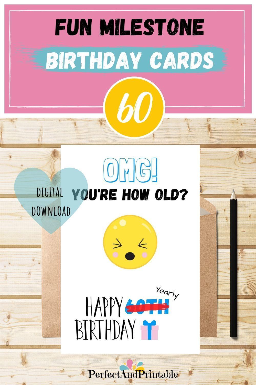 60th Birthday Milestone Funny Sloth Card Printable Pun Etsy Birthday Card Printable Funny Birthday Cards 60th Birthday Cards
