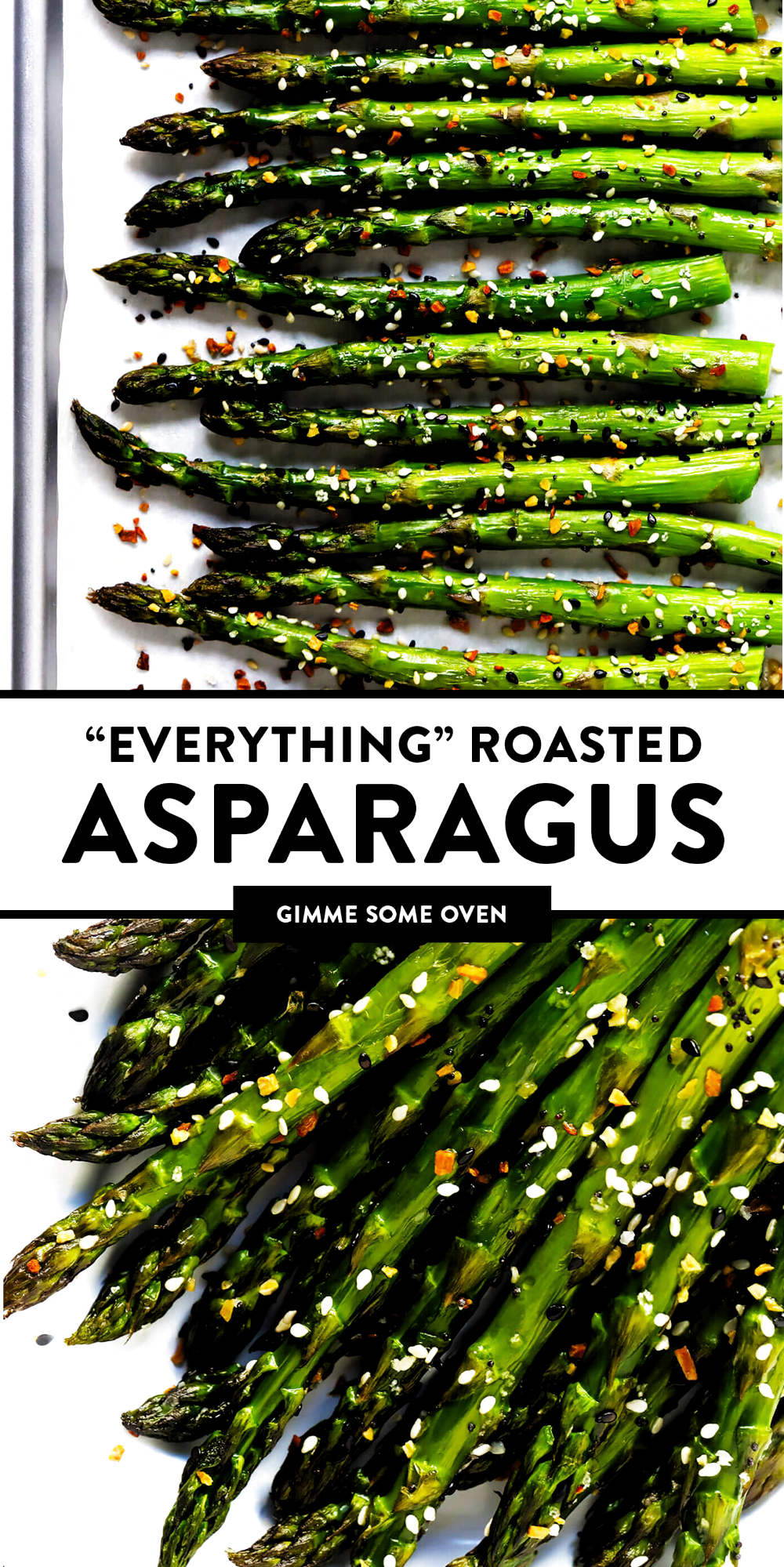 Kick your roasted asparagus recipe up a notch this season with some everything bagel seasoning! Its super quick and easy to make, naturally vegan and gluten-free, and makes the most delicious healthy side dish. | Gimme Some Oven #asparagus #side #vegetable #healthy #dinner #thanksgiving #christmas #holiday #fall #winter