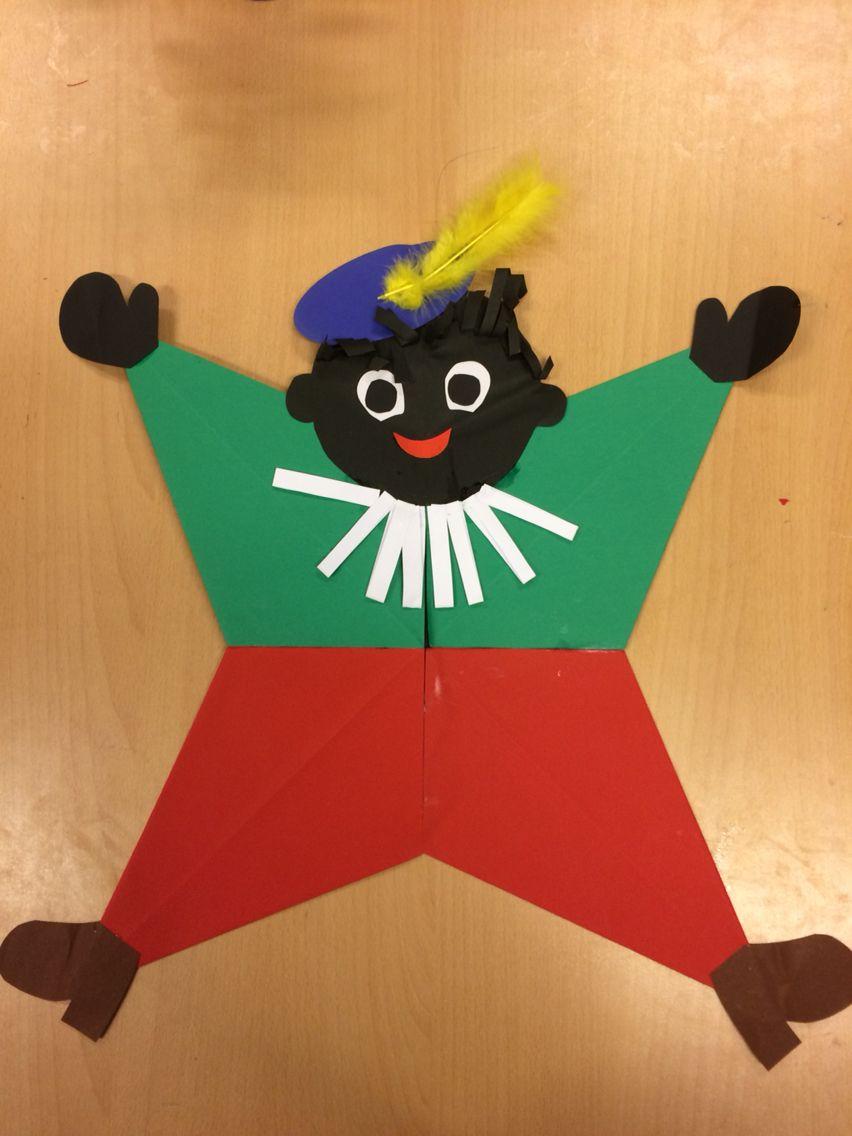 Zwarte Piet Gevouwen van 4 vliegers #zwartepietknutselen