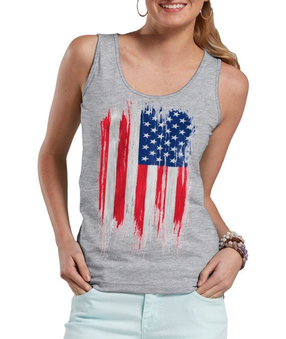 07f7fed307d5 USA Distressed Flag 'Merica Cool 4th Of July Ladies Tank Top in 2019 ...