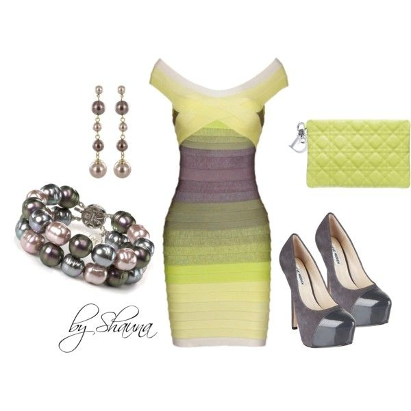 Beautifully colored bandage dress with stunning shoes, created by shauna-rogers on Polyvore