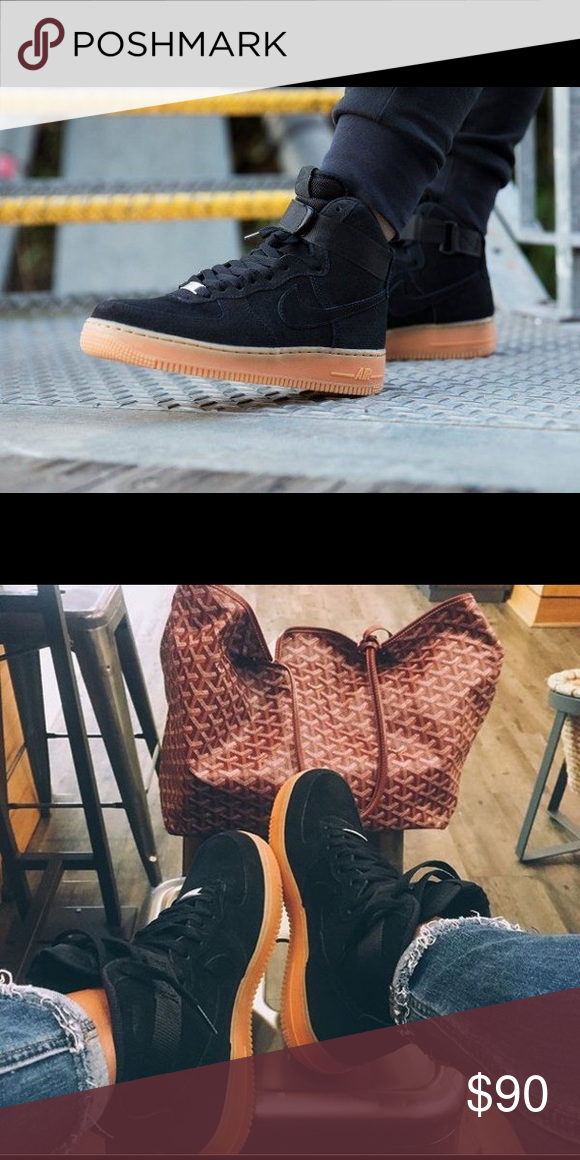 c273422fbfb50 Black suede Nike Air Force 1 Gum sole WOMENS black suede Nike Air Force 1  with gum sole, size 8, worn ONCE Nike Shoes Sneakers