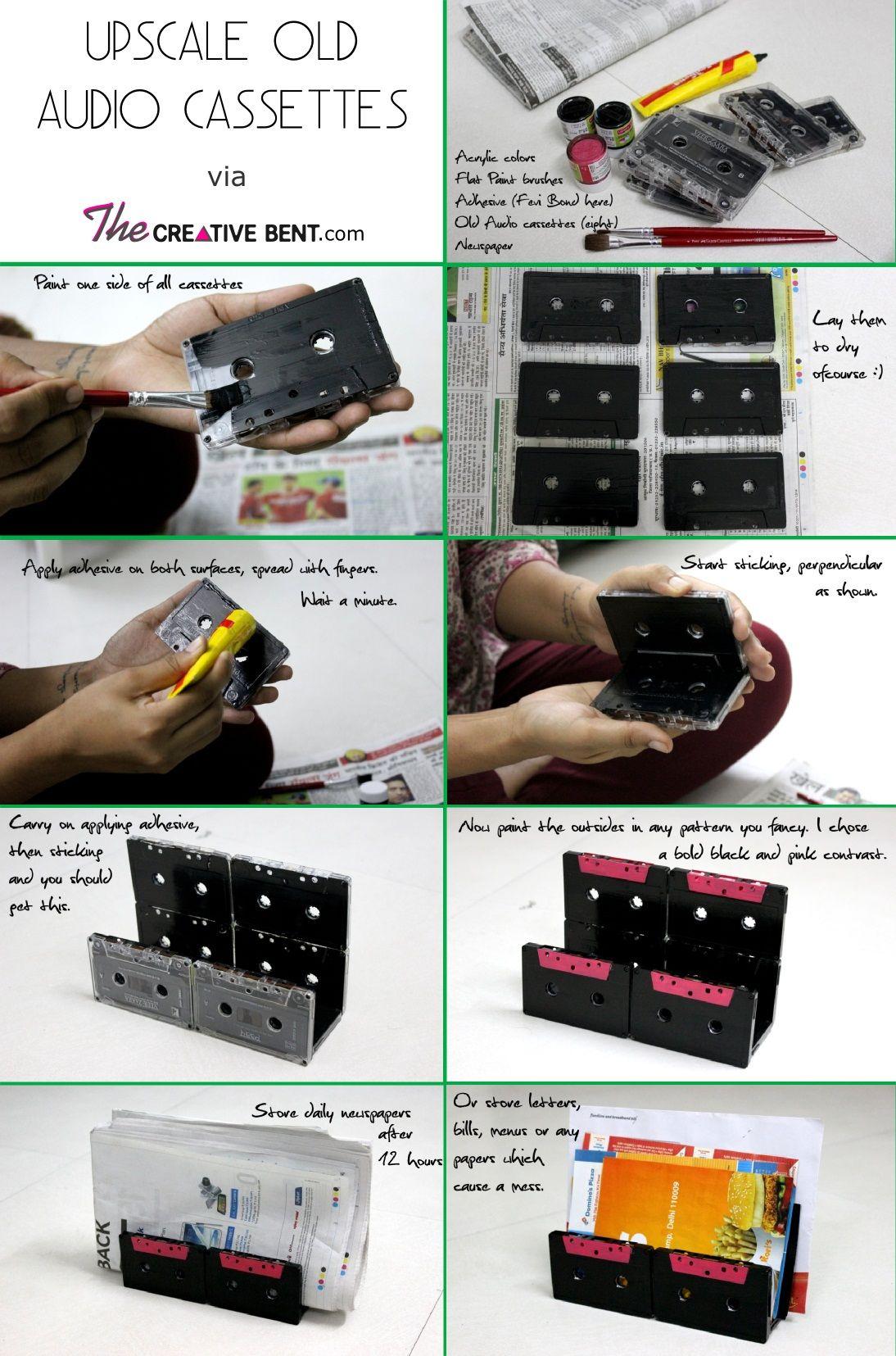 recycling old audio cassettes ideas diy newspaper holder. Black Bedroom Furniture Sets. Home Design Ideas