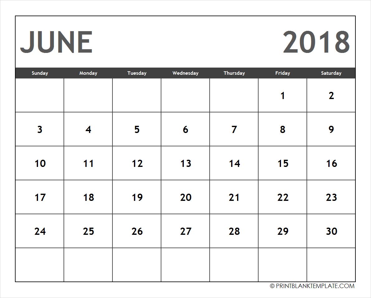 Editable June 2018 Calendar Template Free Calendar 2018