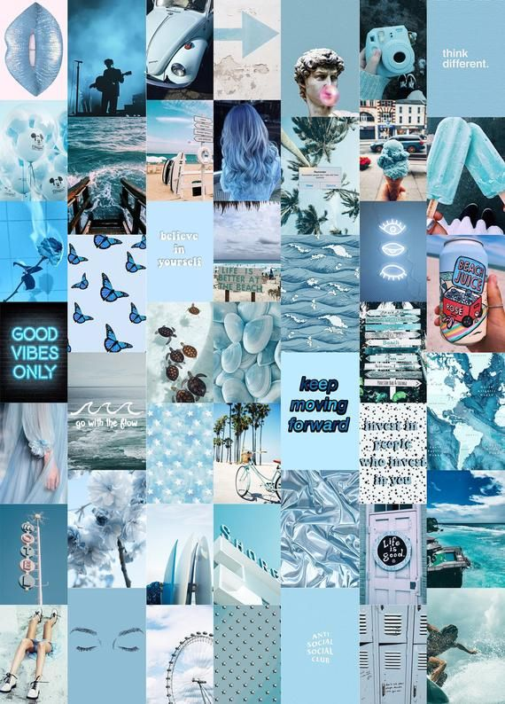 Ocean Blues Wall Collage Kit, Blue Aesthetic Collage Kit, VSCO photos - 46Pcs Instant Download