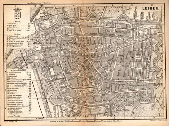 1897 Leiden Netherlands Antique Map Vintage Lithograph Leyden
