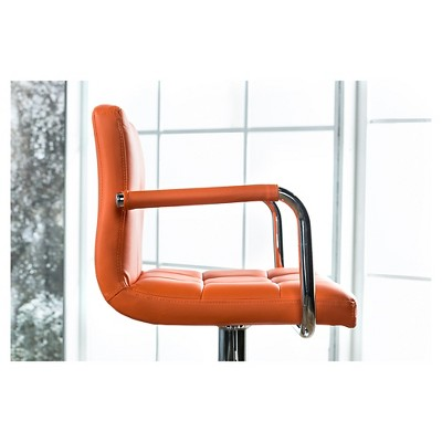 Ethan Adjustable Swivel BarStool with Arms - Orange - Furniture of America