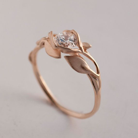 Leaves Engagement Ring 14k Rose Gold Engagement Ring