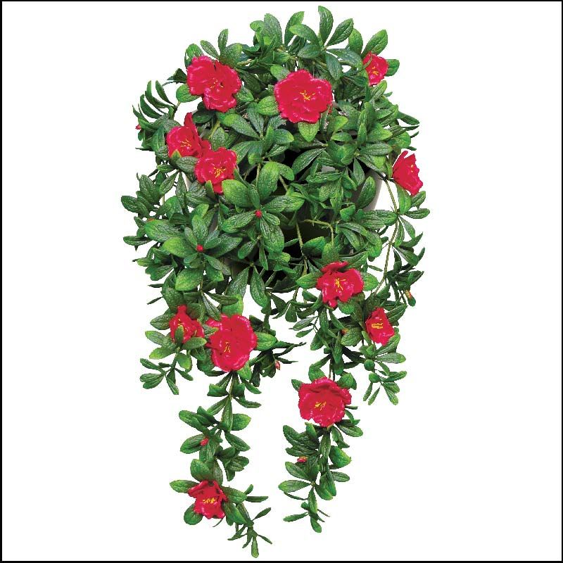 """Outdoor Artificial Red Azalea 34"""" Hanging Vine with big, bright blossoms"""