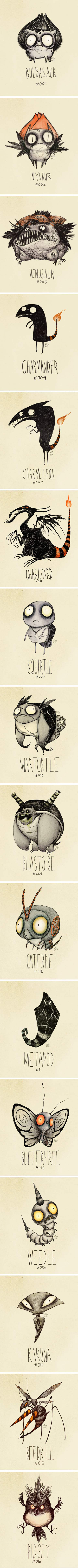 If Tim Burton designed the Pokemon characters, this is what they'd might look like.