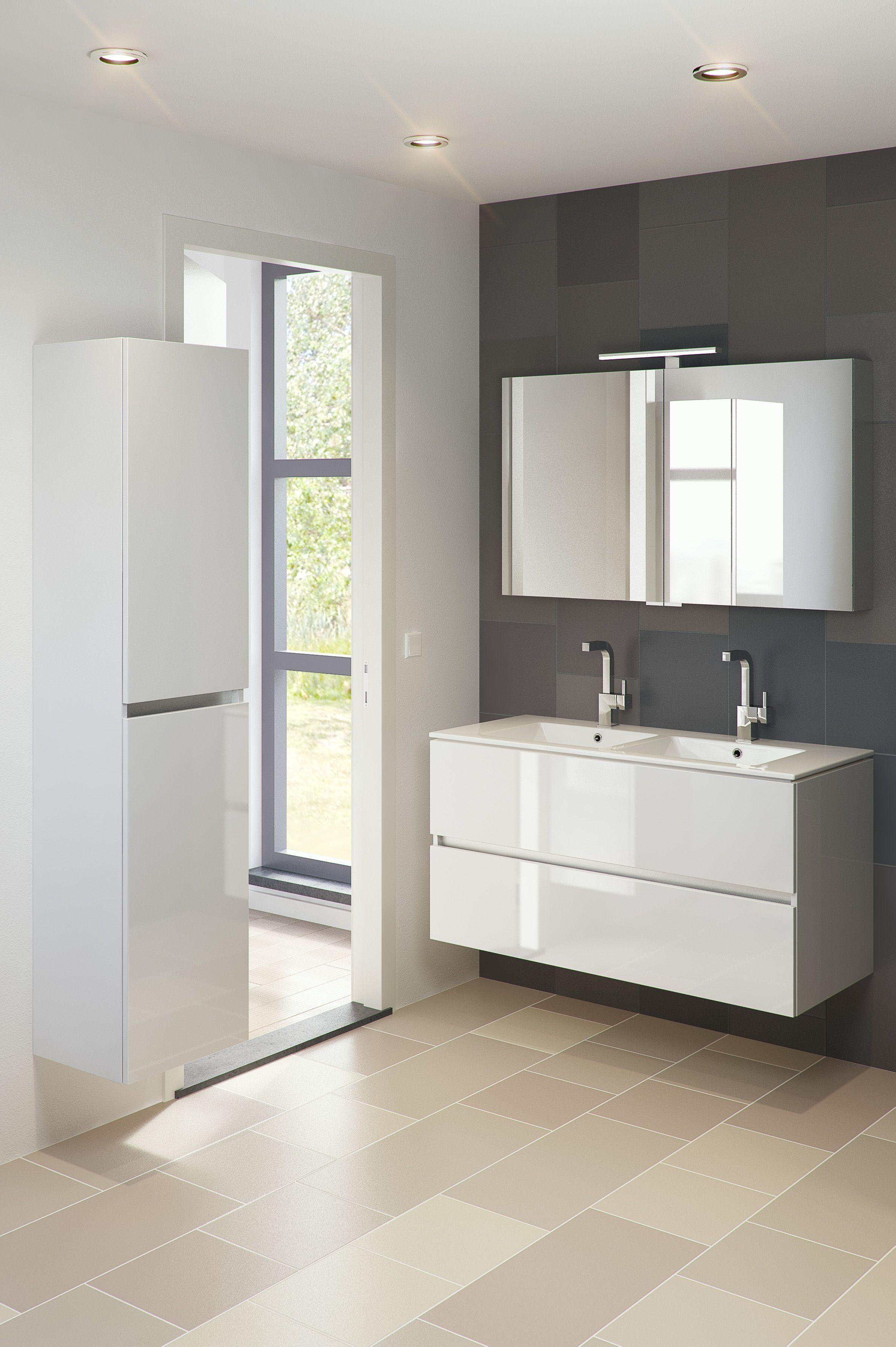 Bruynzeel Miko 120 cm glans wit / badmeubel badkamer sanitair ...
