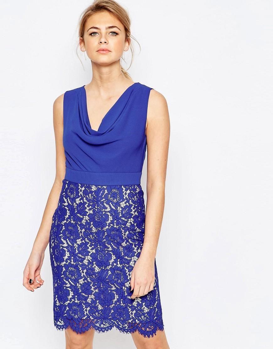 Oasis | Vestido de tubo con cuello desbocado y falda de encaje de ...