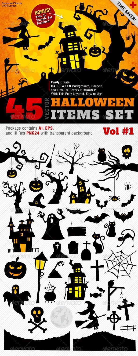 Halloween Vector Set Vol 01 45 Items GraphicRiver A