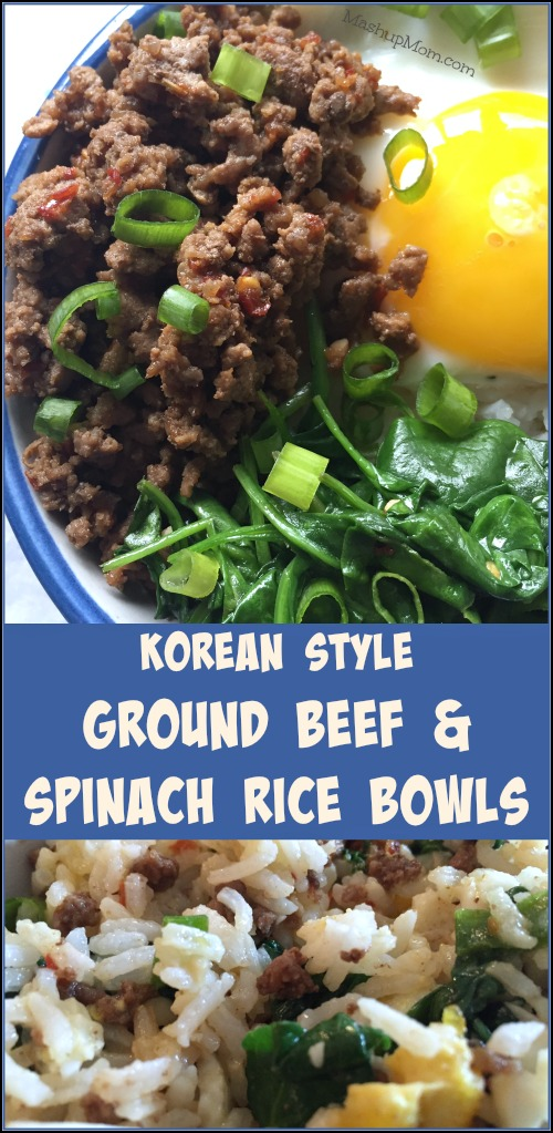 Korean Style Ground Beef Spinach Rice Bowls Recipe Ground Beef And Spinach Spinach Rice Ground Beef