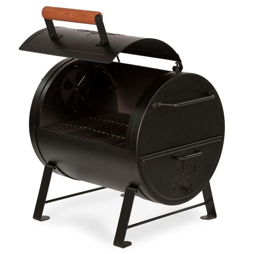 Barbecue Grill Cahrcoal Texas Style Smoker Table Top Side