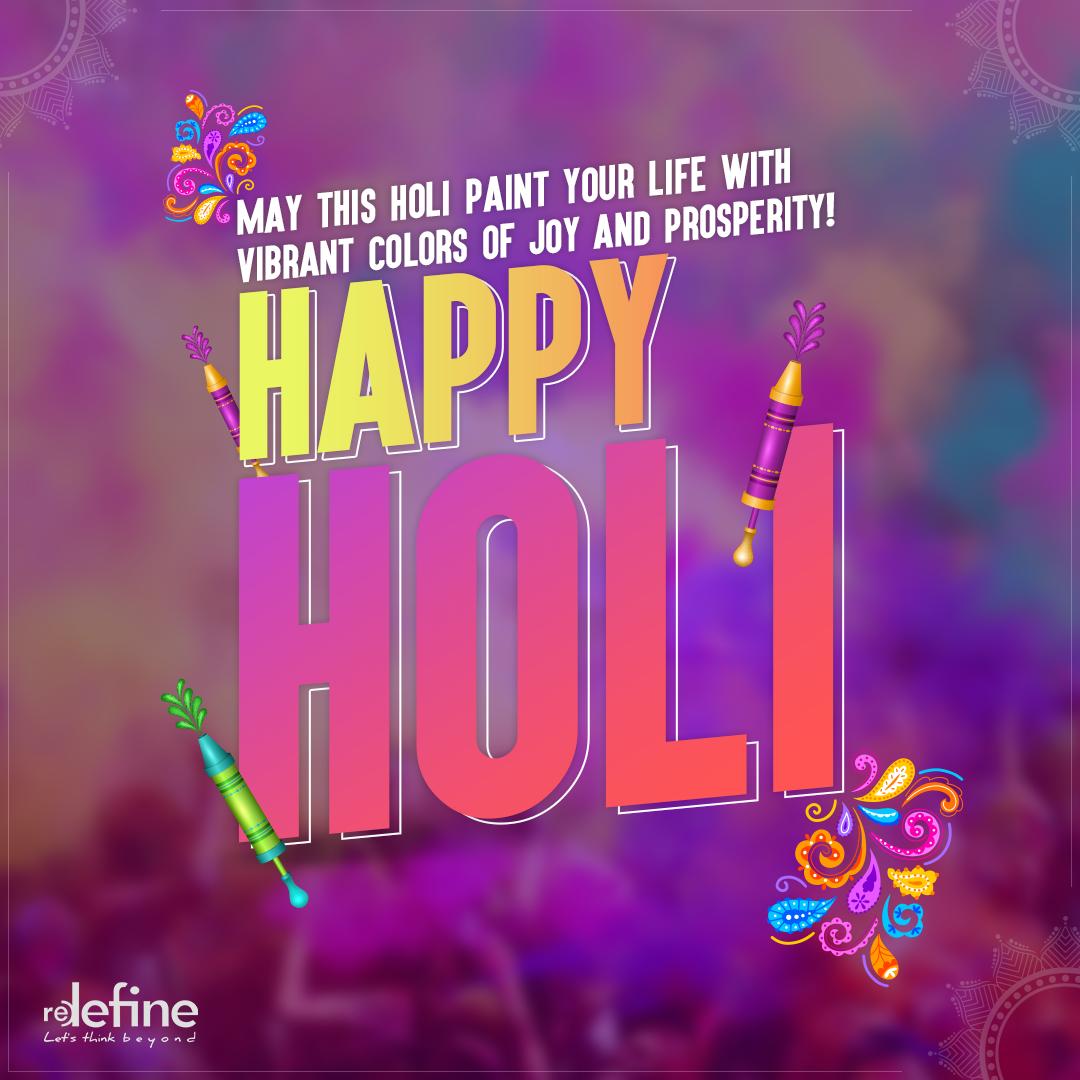 We wish you and your family all bright hues of life. Have a colourful Holi! #happyholi #holihai #happyholi2020 #redefine
